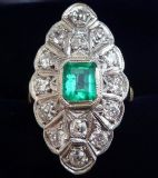 Edwardian 18ct 18k and white gold 0.65ct colombian emerald and diamond marquise vintage antique ring